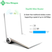 Free shipping Original Xiaomi Router Mini mi router white dual-band Maximum 1167mbp support Wifi 802.11 AC and throughwall model