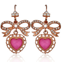 Korean Rose Gold/18K Gold/Platinum Plated Sweet Drop Earrings Bowknot With Heart Pink/Purple Crystal Stone Jewelry For Women Lot(China (Mainland))