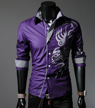 New Spring 2015 Men's Long Sleeve Shirt Fashion Flower Shirt Men Cotton Casual Shirt Men Plus Size M-3XL Shirt Men(China (Mainland))