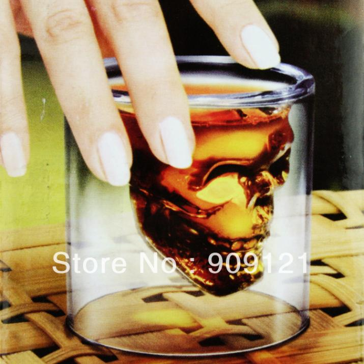 Crystal Skull Head Cocktail Glass Vodka Shot Glass Drinking Ware for Home Bar 2 Ounces(China (Mainland))