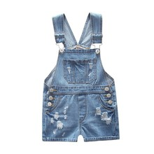 Buy 2017 NEW Summer Fashion Children Child Kids Girls Boys Baby Cotton Denim Overall Girls Soft Shorts Suspender Shorts Holes for $10.65 in AliExpress store