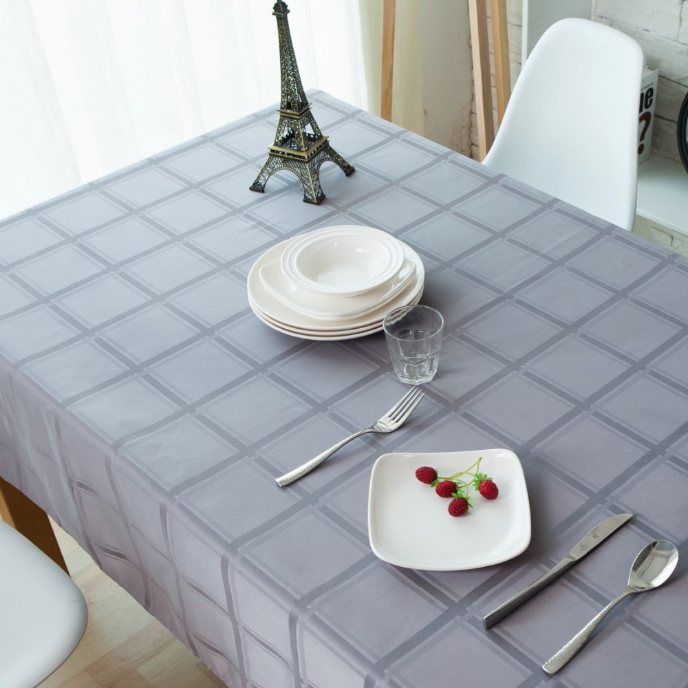 Hot Sale Plaid Dobby Tablecloths Gray Table Cover Woven Rectangle Table Linen(China (Mainland))