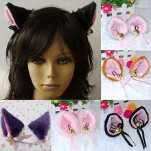 1 Pair Anime Costume Cat Fox Ears Long Faux-Fur Hair Clip Pair Party Cosplay Hair Accessories(China (Mainland))
