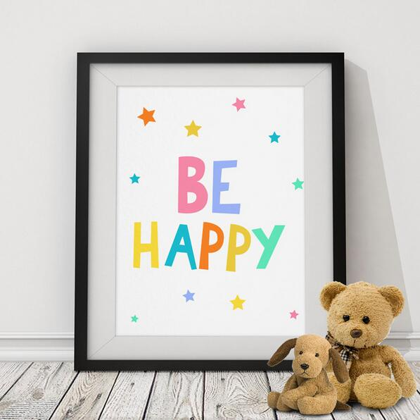 BE HAPPY Quote Kids Poster, Nursery Print Art, Wall Picture Oil Painting Canvas Art Prints Nursery Art, Baby Room Decor(China (Mainland))