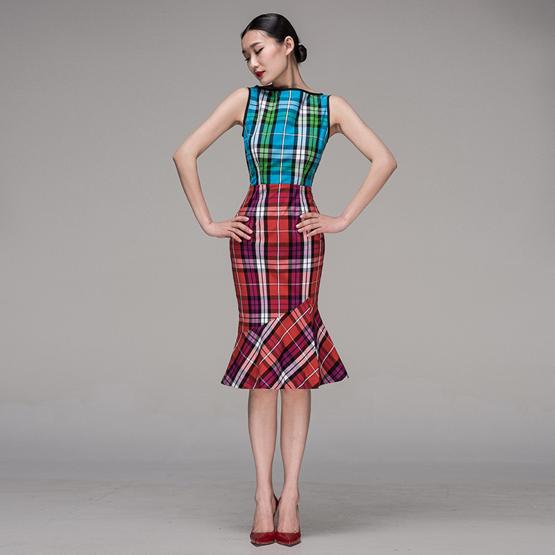 Exclusive Boutique Designers Mixed Plaid Print Mermaid Dress Women Sleeveless Patchwork Tartan Print Dress/Vintage Trumpet Dress(China (Mainland))