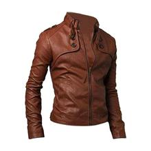 UESH! New!Men Clothing Slim Fit Stand Collar Motorcycle Synthetic Leather Jacket Outwear Brown XL(China (Mainland))
