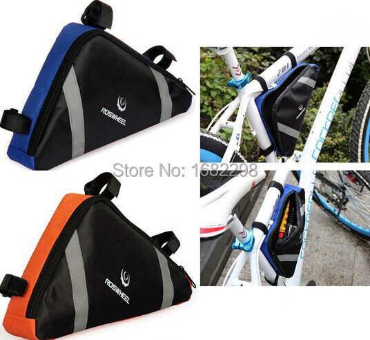 New Arrival 2 Colors Roswheel Mountain Bicycle Bike Bag Front Frame PVC Tube Triangle Bag Storage Pouch Blue/Orange(China (Mainland))