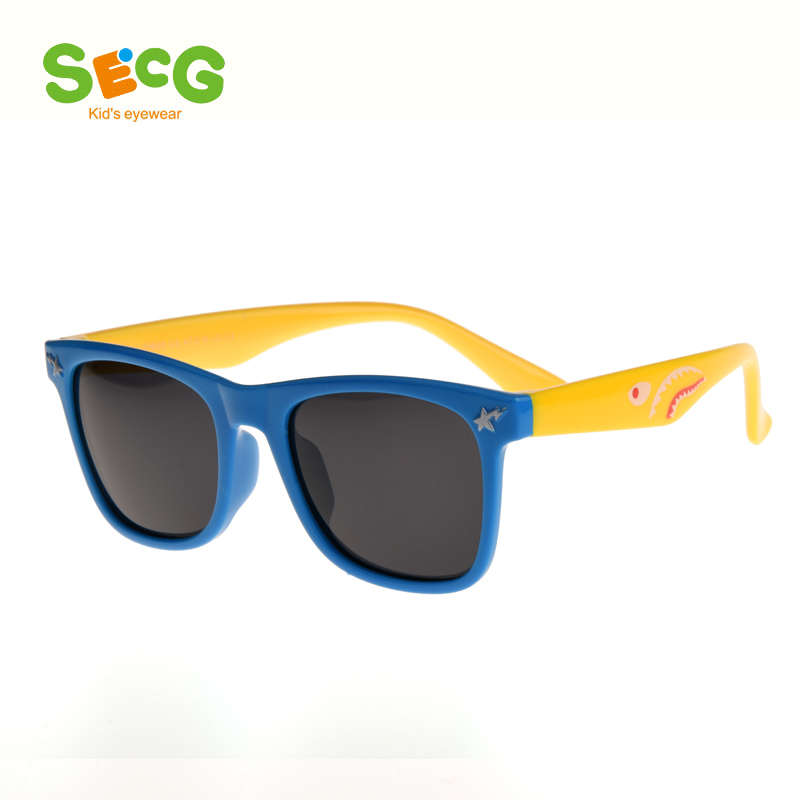 2016 SECG Brand Polarized Kids glasses Rubber Frame Resin ...