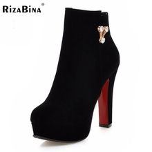 Buy RizaBina Size32-45 Women Boots Platform High Heel Ankle Boots Ladies Sexy Autumn Winter Wedding Party Shoes Footwear Botas Mujer for $29.98 in AliExpress store