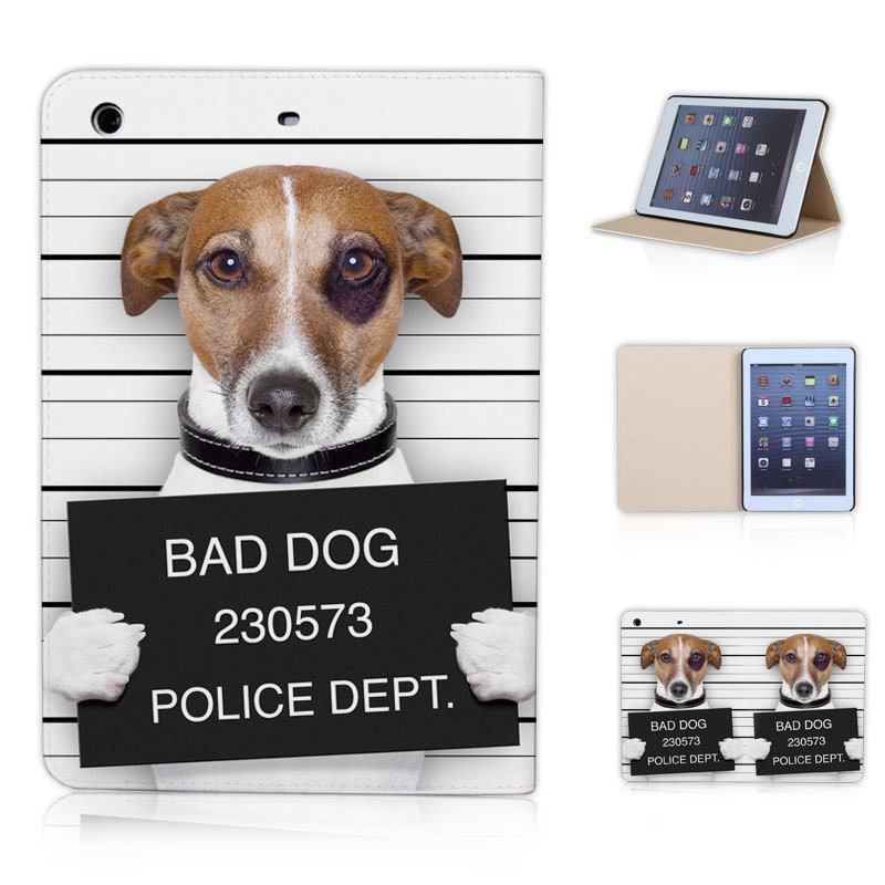 BTD P019-ip-mini Prison Dog Bad Cool Funny Tablet Cover for ipad mini 1 2 3 Criminal Canine Magnetic Case with Sleep Wake up(China (Mainland))