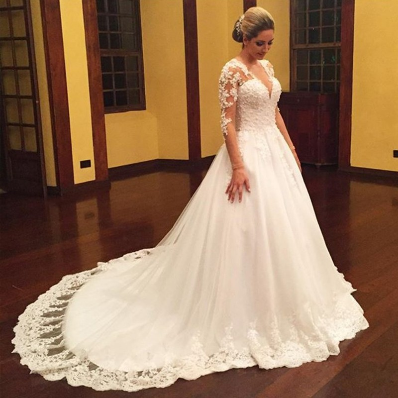 Vintage Plus Size Wedding Dresses 2016 For Russian Appliques Tulle Half Sleeve Puffy Actual