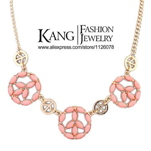 Factory Price 2014 Newest Fashion Creative Pendant Necklace Wholesale Costume Jewelry Retro Resin Circle Pendant Necklace(China (Mainland))