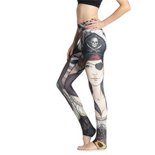 2017 Female Pirate Printing Yoga Pants Sports Pants Exercise Women's Jogging Pants Tight Hips Push Up Yoga Slim Lenggings(China (Mainland))