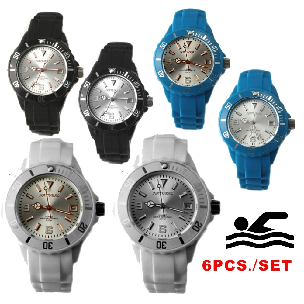 6PCS./Lots 2115 Date Quartz WSFW893 Wholesale Watches Fashion Watch Sport Fitness ,Swimming ,100% Tested 30M Water Resistant(China (Mainland))