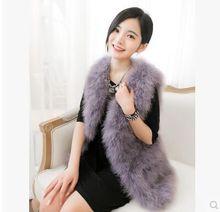 Hot Sale New 2016 Women Winter encryption 100% natural ostrich feathers turkey feather fur vest vest fur coat Fur Coat(China (Mainland))