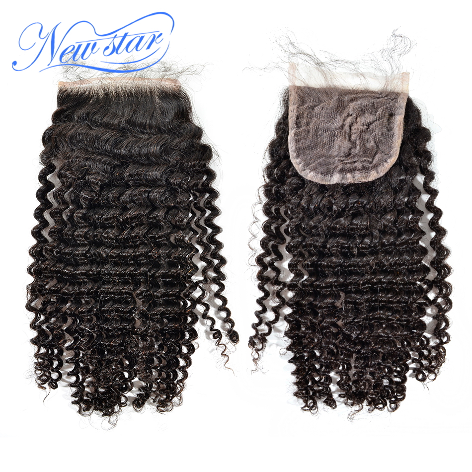 Фотография new star superior Eurasian virgin hair free style bleached knots deep curly 4*4,120% density lace top closure, with baby hair