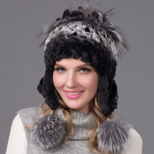 New women's winter warm fur hat rex rabbit ear rabbit fox fur hat knitted millinery millinery(China (Mainland))