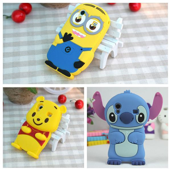 Top Quality 3D Minions Phone Silicone Soft Cell Phone Case Cover For Samsung Galaxy Ace S5830 S5830i GT S5830 Cases Gel Shell(China (Mainland))