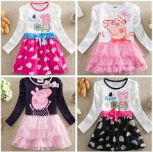 Hot Sale Retail Girls Dress Long Sleeve 100% Cotton Pepa Clothes For Baby Girl Princess Tutu Dress Brand Kids SMA STAR