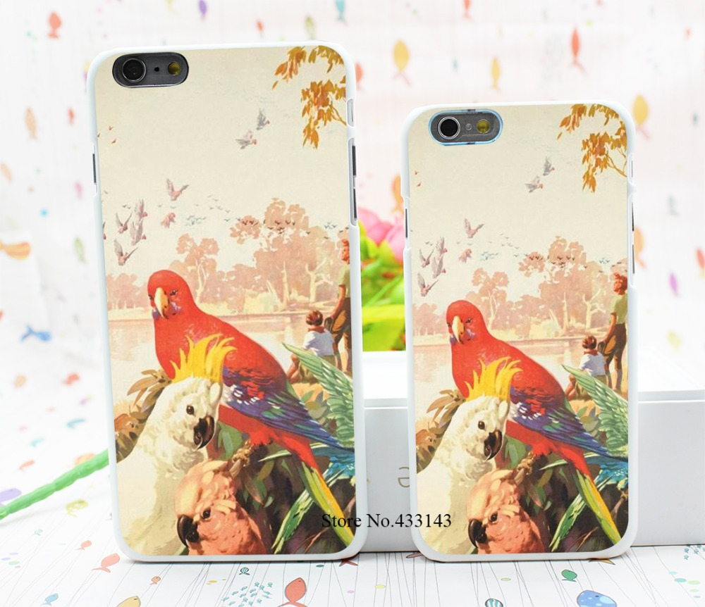 RAINBOW PARROT AUSSIE AUSTRALIA Style Hard White Cover Skin Back Case for iPhone 6 6s 6 plus(China (Mainland))