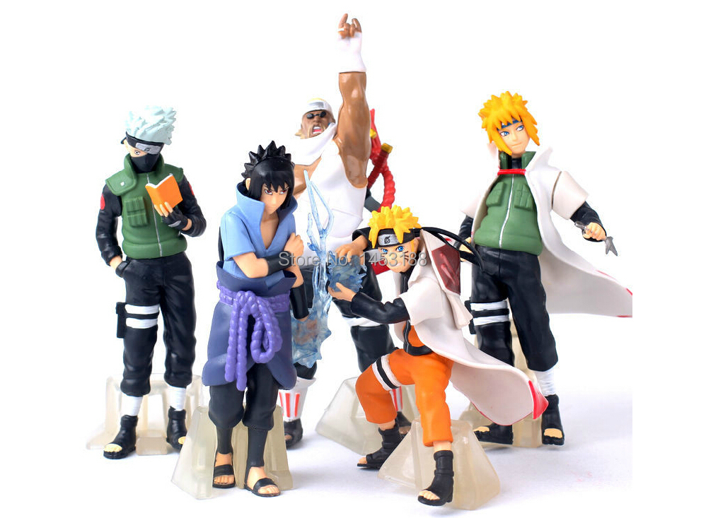 2015 NEW Hot 5 PCS/set Naruto 14cm kakashi sasuke Anime Assortment Figures Set The 20th Generation Collection Model toy(China (Mainland))