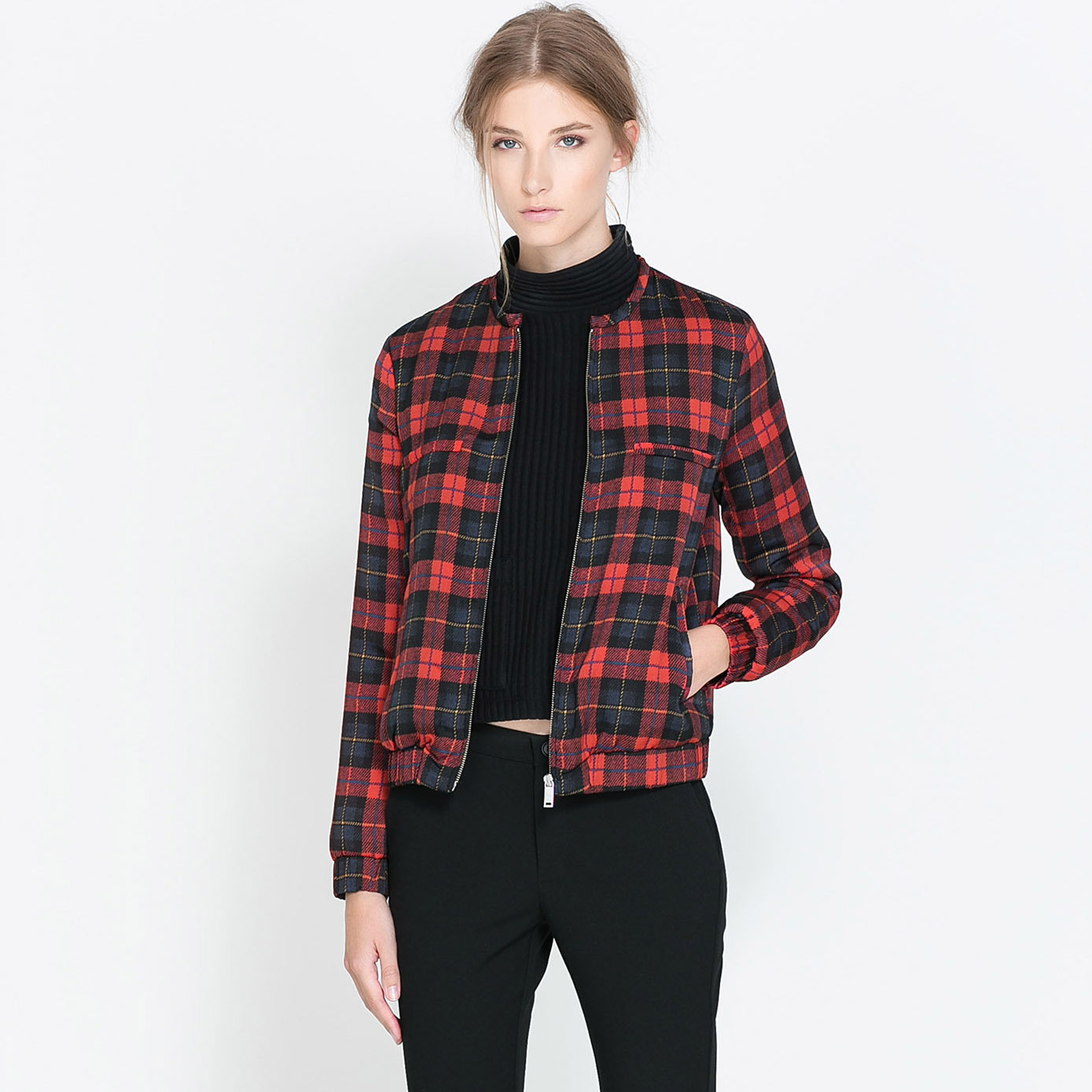 Plaid Wide-waisted Regular Casual Jackets Womens Coats And Jackets Autumn/spring 2015 Grid Zipper Opening  Wholesale