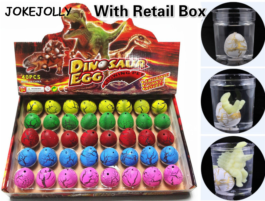 60pcs with retail box Magic Water Hatching Inflation Growing Dinosaur Eggs Toy For Children Educational Novelty Gag Toys GYH(China (Mainland))