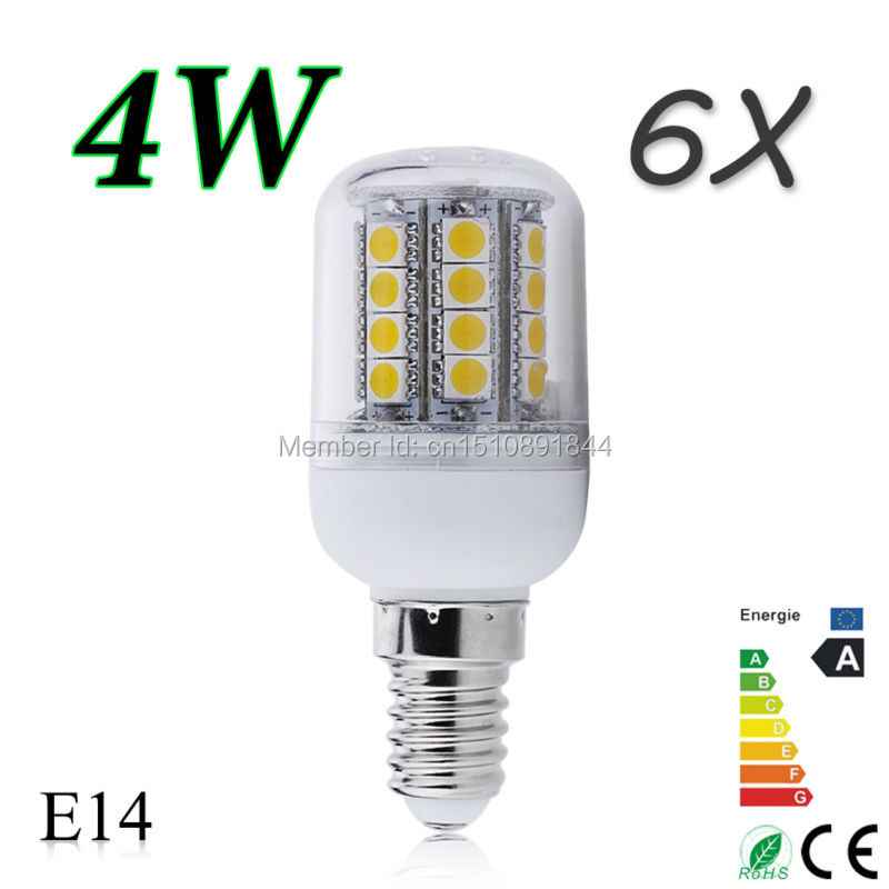 Factory Price ---High Power 4W E14 LED Light 5050 SMD Ultra Bright Lamp Bulb Warm White 200-260V,1Pack=6 Pcs,Free Shipping(China (Mainland))