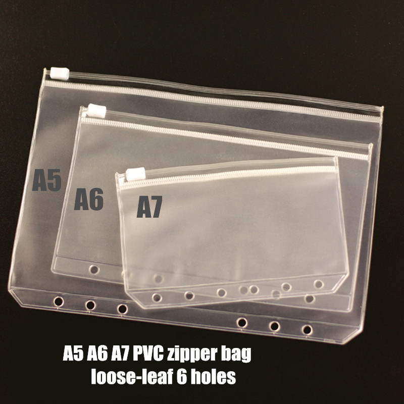 A5 A6 A7 PVC zipper bag pouch bags card bills EDGE bags loose-leaf plastic card holder pocket 2pcs/pack(China (Mainland))