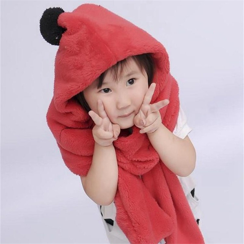 New Hot products autumn and winter children 's fabric warmer  scarves hats goloves Red gloves scarf