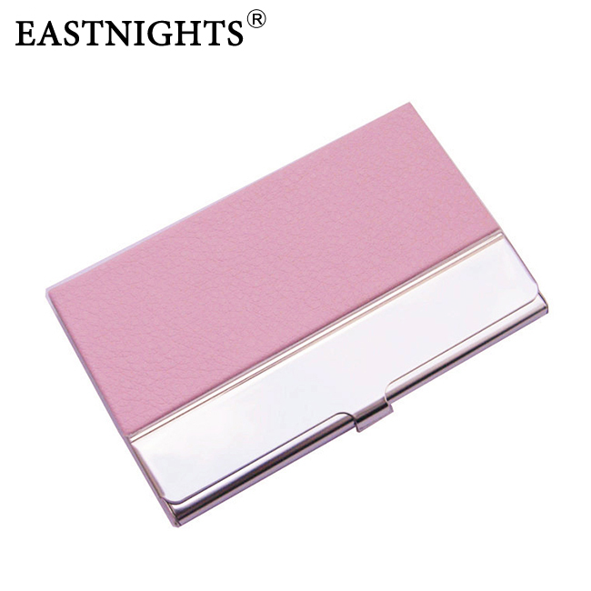 whole sale 1 Stainless Steel + PU leather Name Card Case Holder Business Hold , can make logo NMS013 - Sun Shine Leather Co., Ltd. store