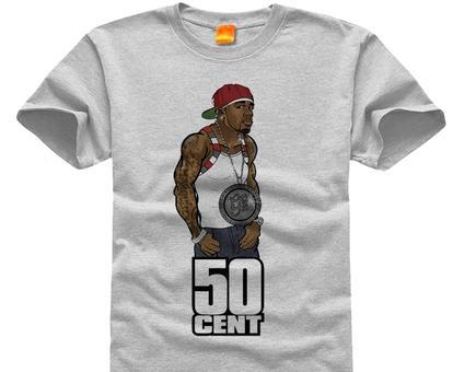 50 Cent fifty cents rap Get Rich Men's short sleeve T-shirt Pure cotton Round collar 001(China (Mainland))