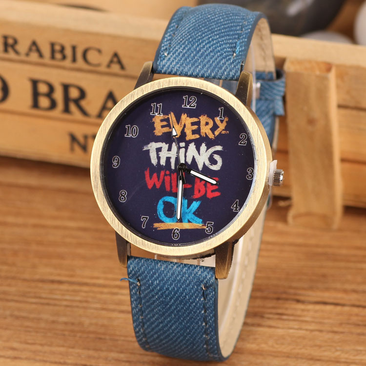 2016 Famous Brand Fashion Casual Quartz Watch Women Jack Flag Jean Fabric Leather Watches Relogio Feminino Blue Clock Hot - Shine Factory store