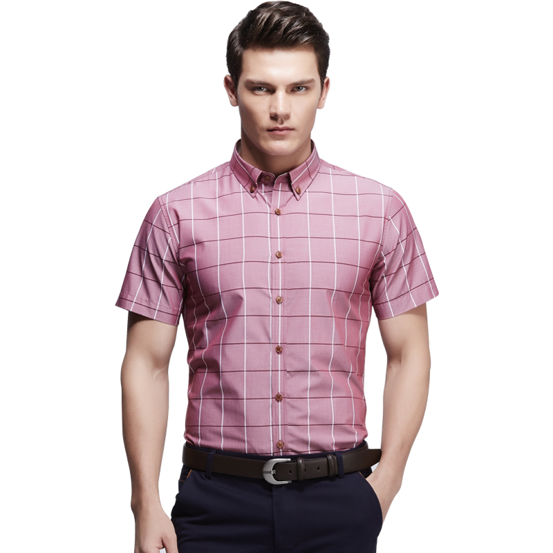 Men short sleeve plaid shirts casual slim fit social for Fitted short sleeve dress shirts