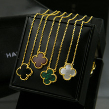 2015 Sale Colar Fine Jewelry The Middle East Hot Shell Agate Side Multicolor Clover 18k Plating 18 Karat Single Flower Necklace(China (Mainland))