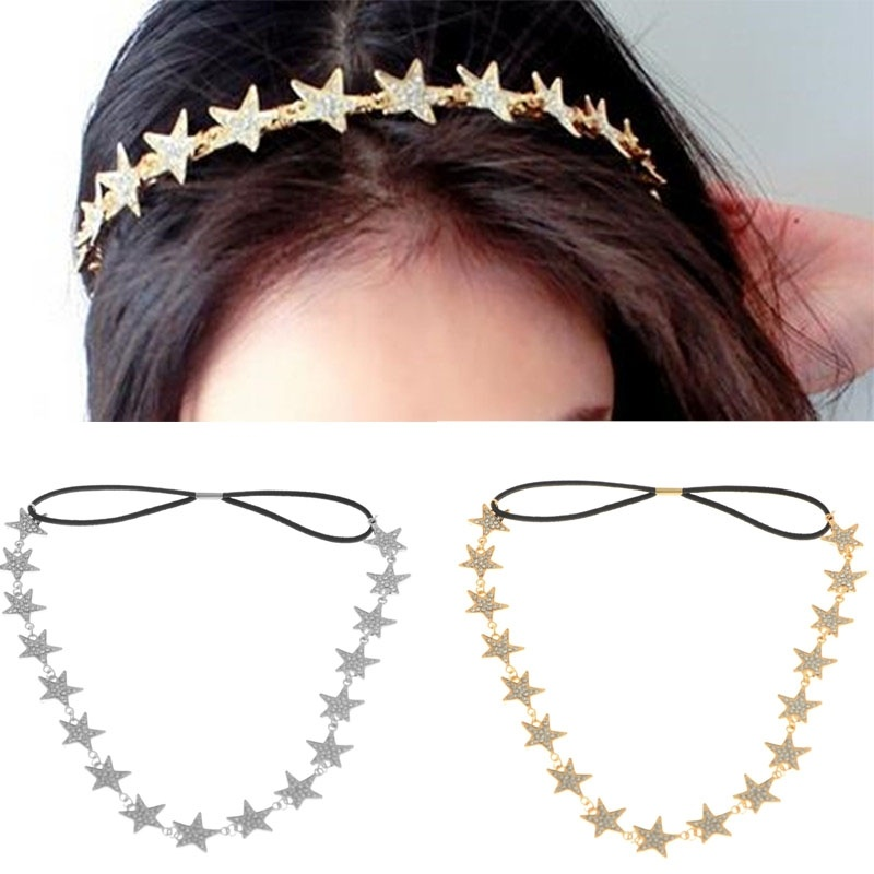 Fashion Lady's Metal Chain Jewelry Pentagram Star Elastic Hair Band Head Bands Headband Hairbands Accessories(China (Mainland))