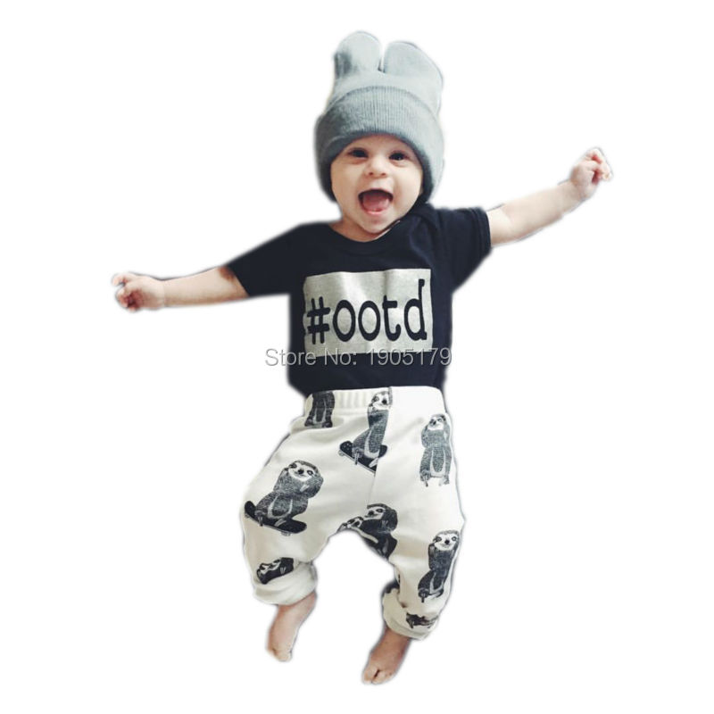 2016 New Fashion baby boy clothes newborn cotton printed short sleeve t shirt+pants 2pcs s infant baby girl clothing sets(China (Mainland))