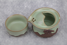 Tianqing Handmade Ru Kiln Celadon Ware Teapot Teacup Gongfu Tea Set 115ml