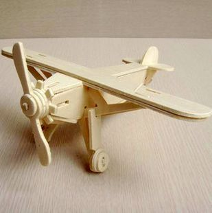 Scale Educational toys Wooden plane model 3d assembling model of Miniature DIY 20*20*9CM(China (Mainland))