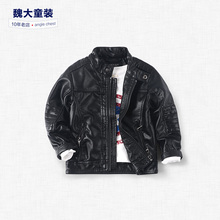 big boys leather coat 2016 spring section Euramerican children's clothing leather jacket children PU leather collar boy