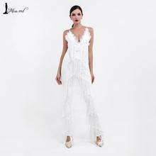 Free Shipping  2016 Sexy sleeveless V-NECK  halter lace tassel jumpsuits FT4661(China (Mainland))