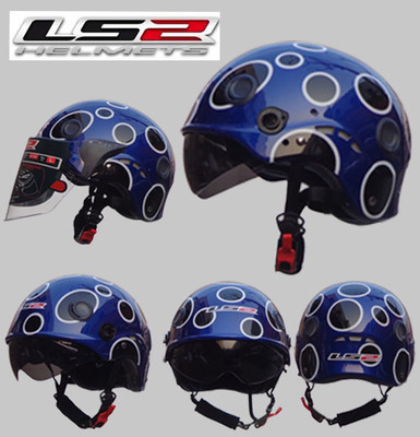 Free shipping authentic LS2 OF101 motorcycle helmet half helmet wearable double mirror washable lining / Pearl Blue / ladybug(China (Mainland))