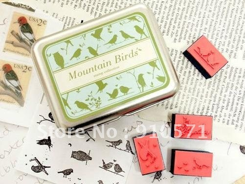 Free Shipping! New Cute Mountain Birds Stamp Set, Iron Gift Box Tin Case/Rubber Stamps Pad/Decorative DIY Stamp(China (Mainland))