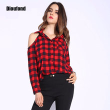 Buy Dioufond Spring Red Plaid Shoulder Tops Shirts Women Long Sleeve Blouse Sexy Blouses V Neck Women Tops Blusas Femininas for $7.33 in AliExpress store