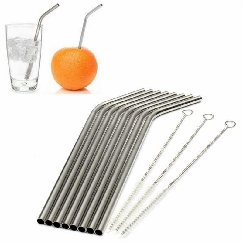 Newest Kitchen Bar Accessories 8 Pcs Stainless Straws With 3 Cleaner Brush Metal Drinking Straw Stainless Steel Bend(China (Mainland))