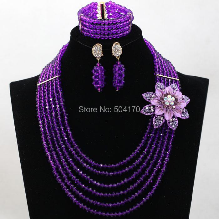 Фиолетовый Свадебные Бусы Африканский Комплект Ювелирных Изделий Кристалл Rhinestone Люкс Ожерелье Серьги Комплект Ювелирных Изделий для Женщин Бесплатная Доставка WA986