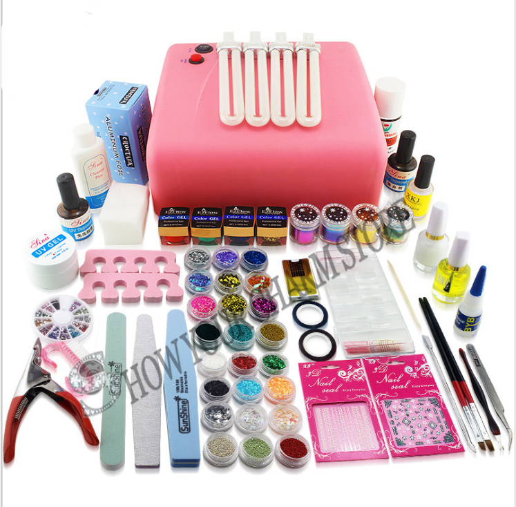 129pcs 36w uv curing dryer decorations manicure acrylic for Acrylic nail decoration supplies