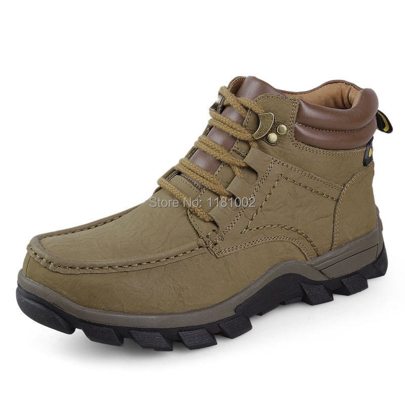 Plus size 38-47 new 2014 waterproof snow boots sneakers warm plush ankle boots men's outdoor shoes full grain leather boots,J905