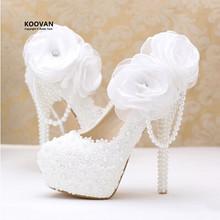 Koovan Wedding Shoes 2017 fashion white pearl lace flowers high heels shoes bridal shoes Woman wedding shoes Women pumps 14cm(China (Mainland))