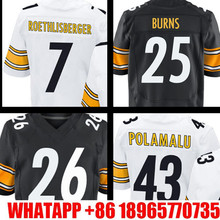 Men's #25 Artie Burns #43 Troy Polamalu Adult 7 Ben Roethlisberger #26 White Black Elite 100% Stitched Free shipping(China (Mainland))